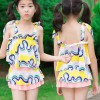 Printed Strap Shoulder Two Pieces Swimwear Suit - Yellow