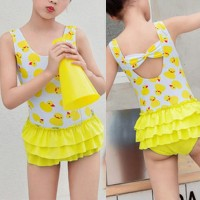 Duck Prints Beach Swimwear Suit - Yellow
