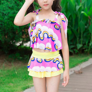 Printed Strap Shoulder Two Pieces Swimwear Suit - Pink