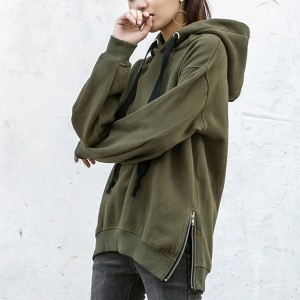 Loose Pullover Mid-length Long Sleeve Hoodies - Dark Green