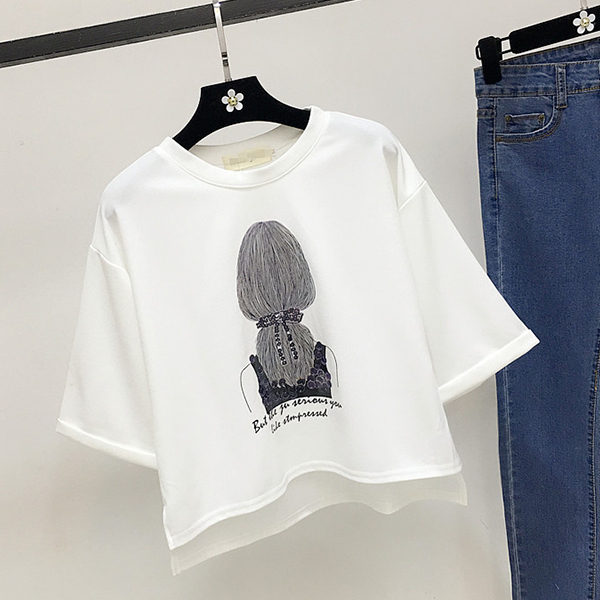 Lady Print Round Neck Loose Casual T-Shirt - White