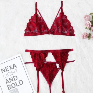 Romantic Nights Special Occasion Caged Bikini Set - Red
