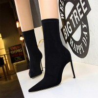 Solid Pattern Thin Heel Knee Length Heel Boots - Black