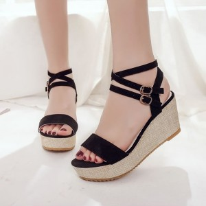 Suede Party Wear Thick Bottom Sandals - Black