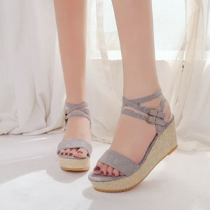 Suede Party Wear Thick Bottom Sandals - Grey