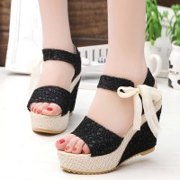 Wedge Knotted Closure Party Wear Sandals - Black