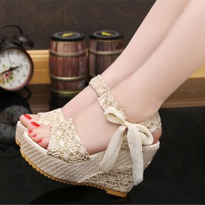 Wedge Knotted Closure Party Wear Sandals - Beige