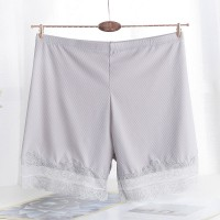 Lace Patched Elastic Waist Elegant Shorts - Gray