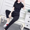 Sports Wear Hoodie Neck Two Pieces Suit - Black