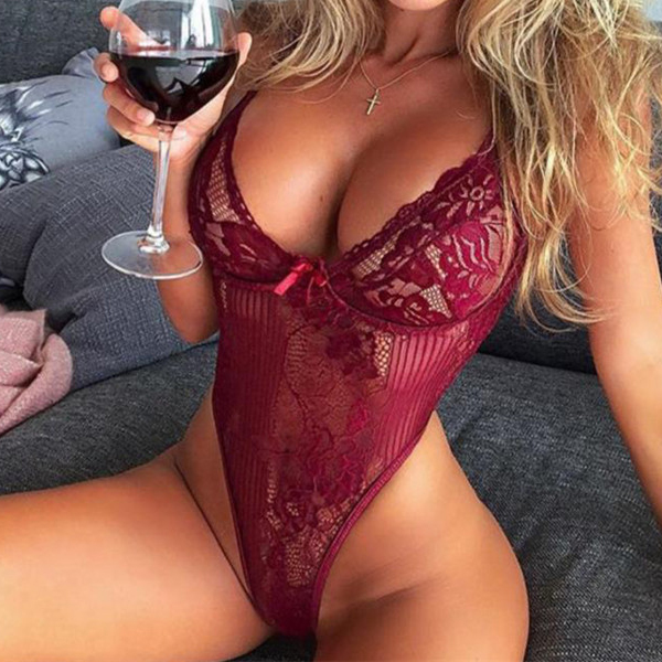 Lace Floral Texture Body Fitted Nightwear Bodysuit - Red