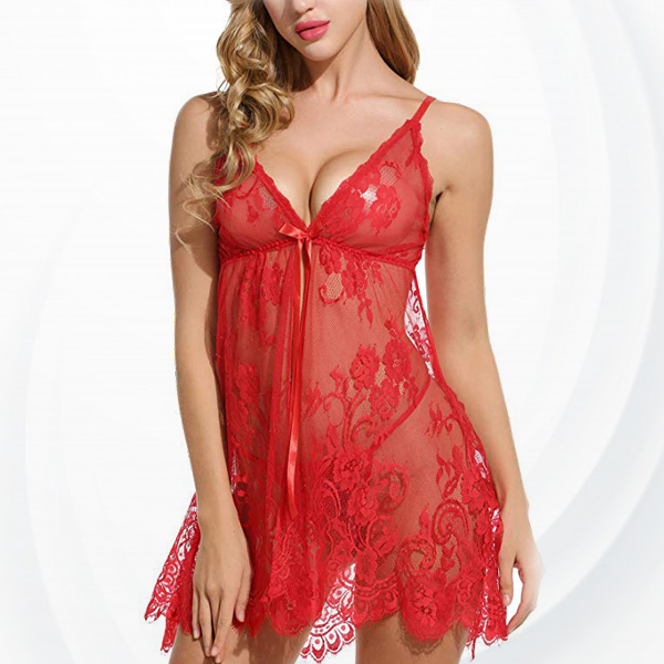 Patched Lace Floral See Through Lingerie Set - Red