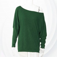 Pullover Long Sleeves Loose Knitted Warm Sweater - Green