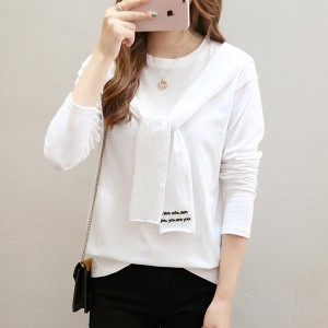 Long Lantern Sleeve V-neck Polyester Women Tops - White
