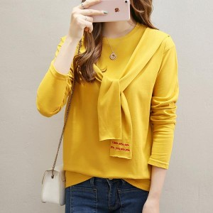 Long Lantern Sleeve V-neck Polyester Women Tops - Yellow