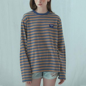 Slim Strips Long Sleeve Pullover Round Neck Shirt - Blue