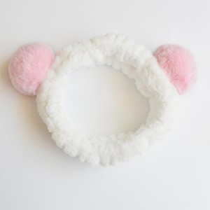 Head Rope Hair Holster Flannel Sweet Ball Bands - Pink Ears