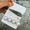 Pearl Three Pieces Golden Party Wear Hair Clips