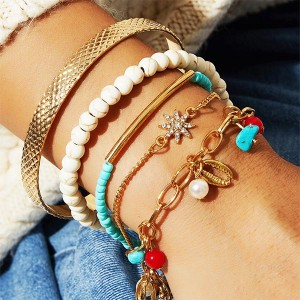 Multilayered Bohemian Gold Plated Bracelets Set