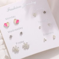 Multi Shaped Six Pieces Party Wear Ear Tops Set