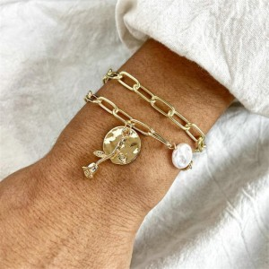 Gold Plated Chain Decorative Party Wear Bracelet