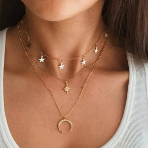 Stars Patched Three Layer Gold Plated Necklace