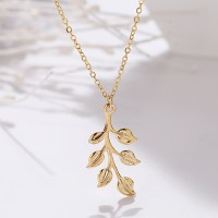 Leaves Carved Gold Plated Chain Necklace