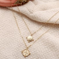 Gold Plated Coin Pendant Chain Necklace