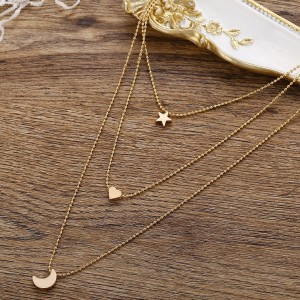 Three Layered Star Heart Shaped Pendant Necklace