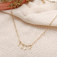 Love Gold Plated Chain Choker Necklace