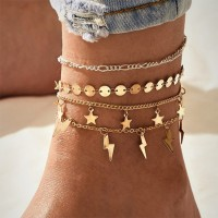 Multilayered Vintage Women Fashion Anklet - Golden