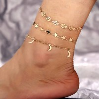 Star Moon Shaped Pendant Hollow Leaf Chain Anklet Bracelet