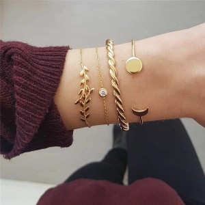 Four Pieces Multi Design Golden Bracelets Set