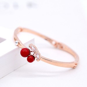 Crystal Decorated Rose Gold Plated Women Bracelets