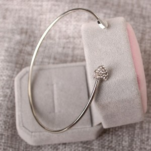 Heart Crystal Decorated Silver Plated Bangle