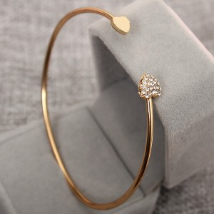 Heart Crystal Decorated Gold Plated Bangle