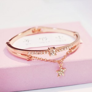 Six Stars alloy Girl love Gift Bracelet - Golden
