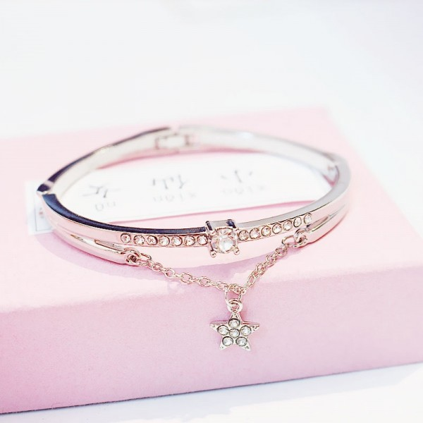 Six Stars alloy Girl love Gift Bracelet - Silver
