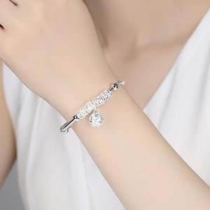 Silver Plated Decorative Party Wear Bracelet - Silver