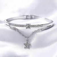 Crystals Decorative Silver Plated Bracelet