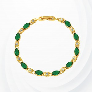 Rhinestone Decorated Gold Plated Bracelet - Green