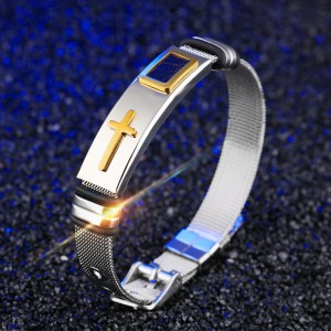Mesh Stainless Steel Men Adjustable Bracelet - Golden