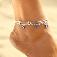 Silver Plated Colorful Beads Chain Anklet