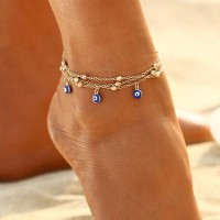 Gold Plated Colorful Beads Chain Anklet