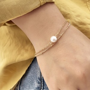 Gold Plated Pearl Casual Wear Two Sets Women Bracelet