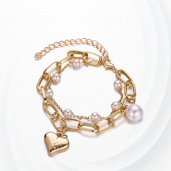 Pearl Decorative Gold Plated Boho Bracelet - Golden