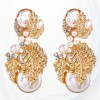 Pearl Decorative Gold Plated Earrings Pair