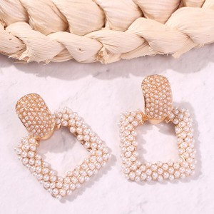 Square Pearl Patched Designers Jewelry Earrings - Golden