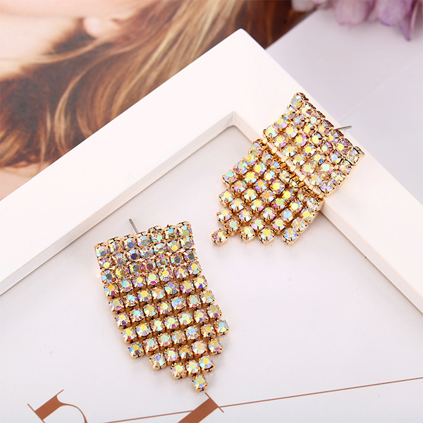 Tassel Crystal Fancy Wear Women Jewelry Earrings Pair - Golden