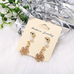 Engraved Fine Carved Gold Plated Jewelry Earrings - Golden