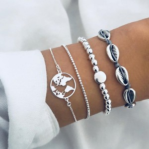 Sea Shell Four Pieces Bracelets Set